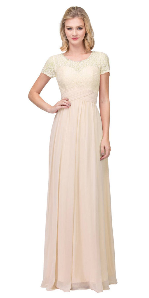 Champagne Illusion Lace Top Short Sleeve Long Formal Dress