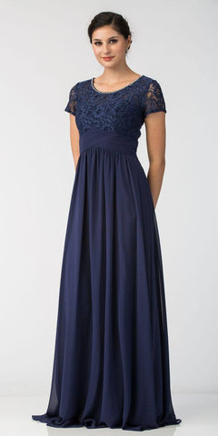 Navy Blue Illusion Lace Top Short Sleeve Long Formal Dress