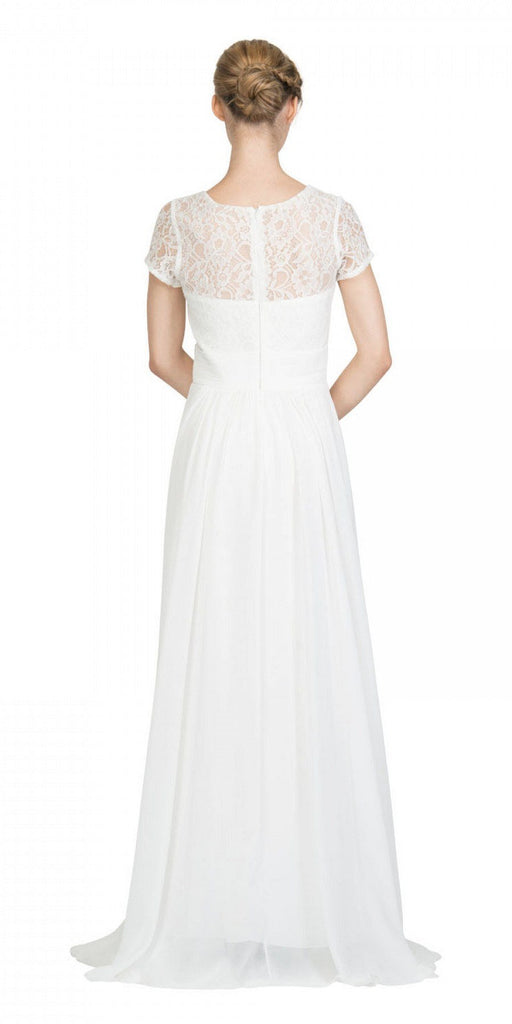 Off White Illusion Lace Top Short Sleeve Long Formal Dress