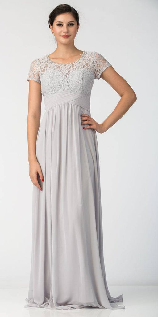 Silver Illusion Lace Top Short Sleeve Long Formal Dress