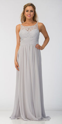 Silver Empire Waist A-line Long Formal Dress