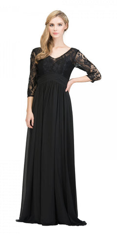 Mid-Length Sleeves V-Neck Long Formal Dress Black