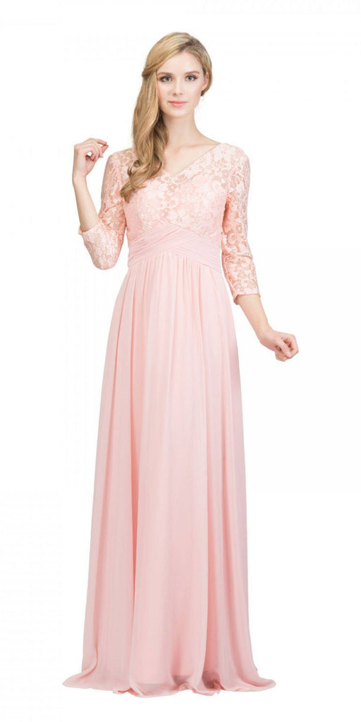 Mid-Length Sleeves V-Neck Long Formal Dress Blush