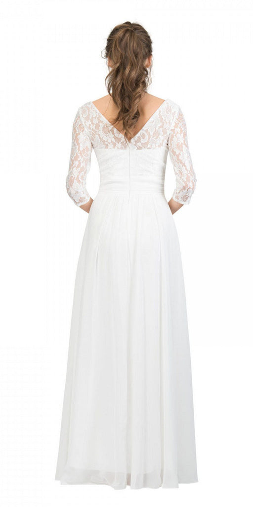 Mid-Length Sleeves V-Neck Long Formal Dress Off White Back View
