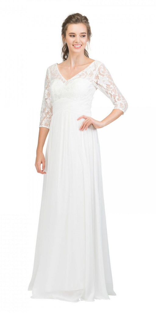 Mid-Length Sleeves V-Neck Long Formal Dress Off White