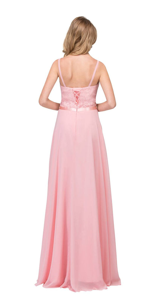 A-Line Chiffon Long Formal Dress Blush Lace Bodice Rhinestone Waist Back View