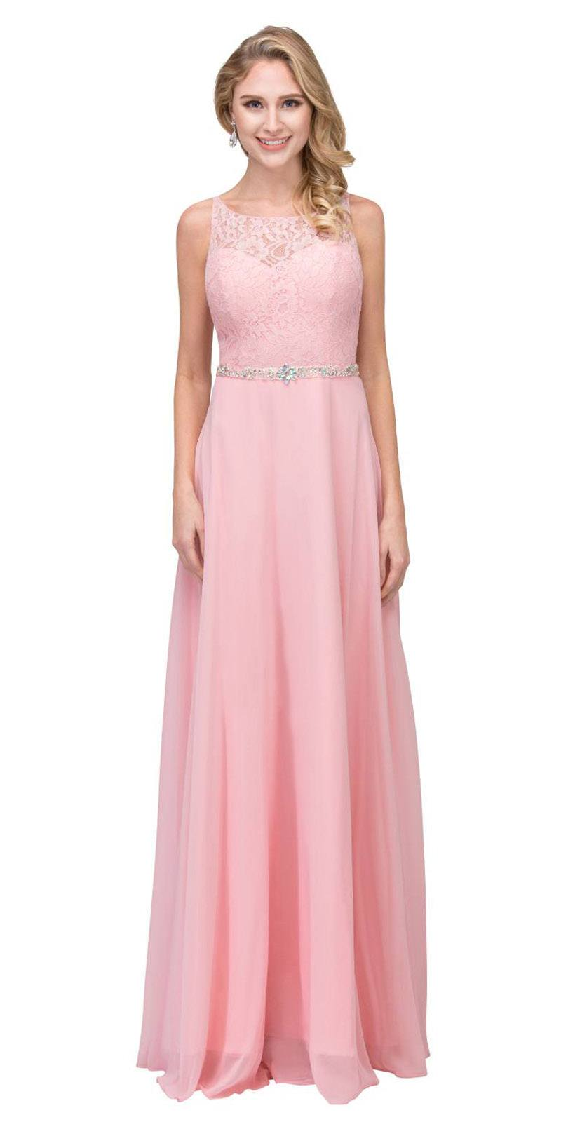 4c282c443b0 A-Line Chiffon Long Formal Dress Blush Lace Bodice Rhinestone Waist ...
