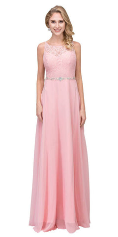 A-Line Chiffon Long Formal Dress Blush Lace Bodice Rhinestone Waist