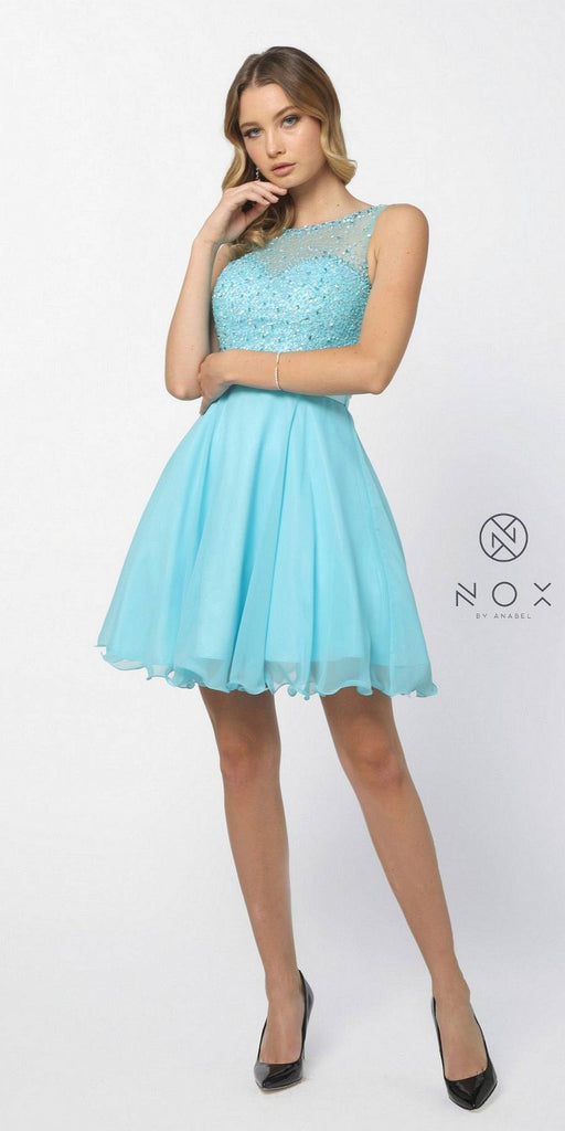 Nox Anabel 6163 Aqua Illusion Beaded Bodice Sleeveless Homecoming Dress Short
