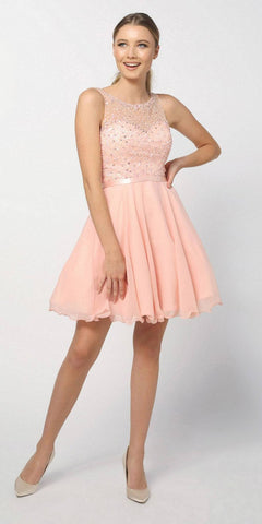 Nox Anabel 6163 Blush Illusion Beaded Bodice Sleeveless Homecoming Dress Short