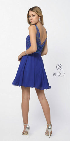Nox Anabel 6163 Royal Blue Illusion Beaded Bodice Sleeveless Homecoming Dress Short