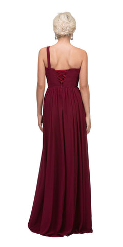 Starbox USA L6163 One Shoulder Floor Length Formal Dress Burgundy Back View