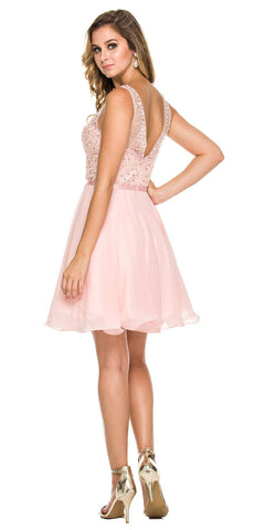 Bashful Illusion Beaded Bodice Sleeveless Homecoming Dress Short