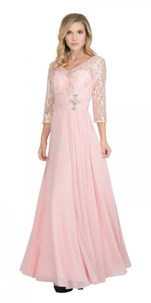 Blush Mid-Length Sleeves Long Formal Dress V-Neck