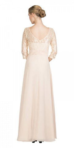 Champagne Mid-Length Sleeves Long Formal Dress V-Neck Back View