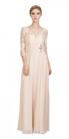 Champagne Mid-Length Sleeves Long Formal Dress V-Neck