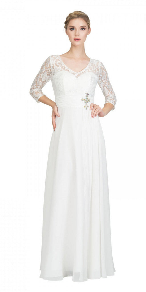Off White Mid-Length Sleeves Long Formal Dress V-Neck