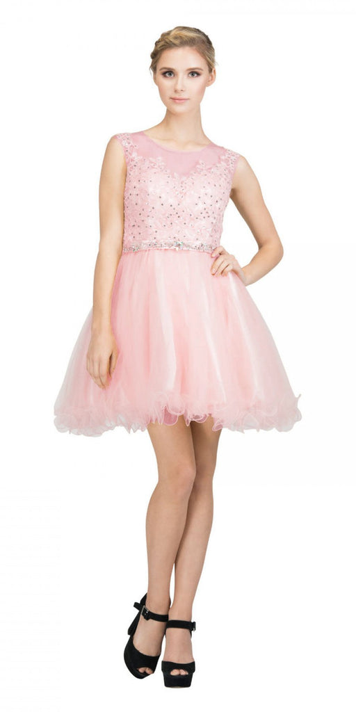 Starbox USA 6165 Embellished Waist Cap Sleeves Homecoming Dress Blush