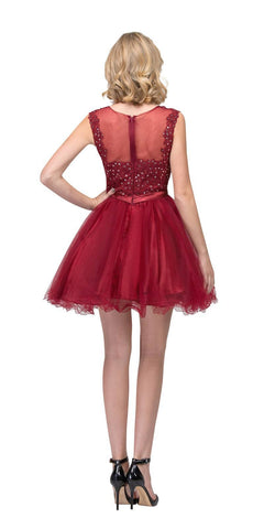 Starbox USA 6165 Embellished Waist Cap Sleeves Homecoming Dress Burgundy Back View