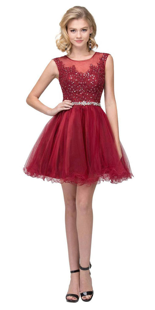 Starbox USA 6165 Embellished Waist Cap Sleeves Homecoming Dress Burgundy