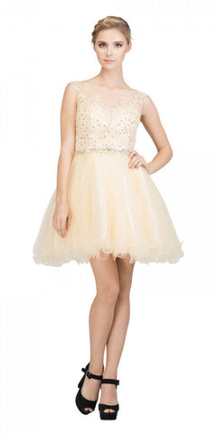 Starbox USA 6165 Embellished Waist Cap Sleeves Homecoming Dress Champagne