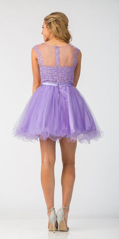 Starbox USA 6165 Embellished Waist Cap Sleeves Homecoming Dress Lilac Back View