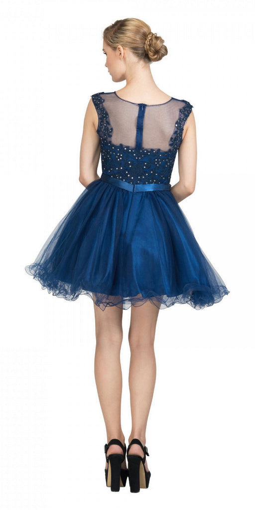 Starbox USA 6165 Embellished Waist Cap Sleeves Homecoming Dress Navy Blue Back View