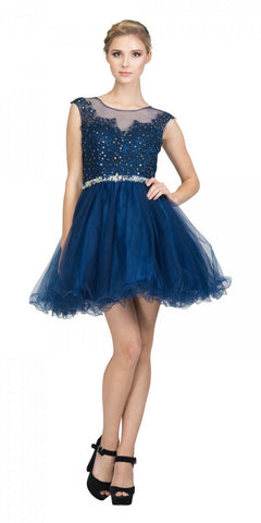 Starbox USA 6165 Embellished Waist Cap Sleeves Homecoming Dress Navy Blue