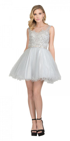 Starbox USA 6165 Embellished Waist Cap Sleeves Homecoming Dress Silver