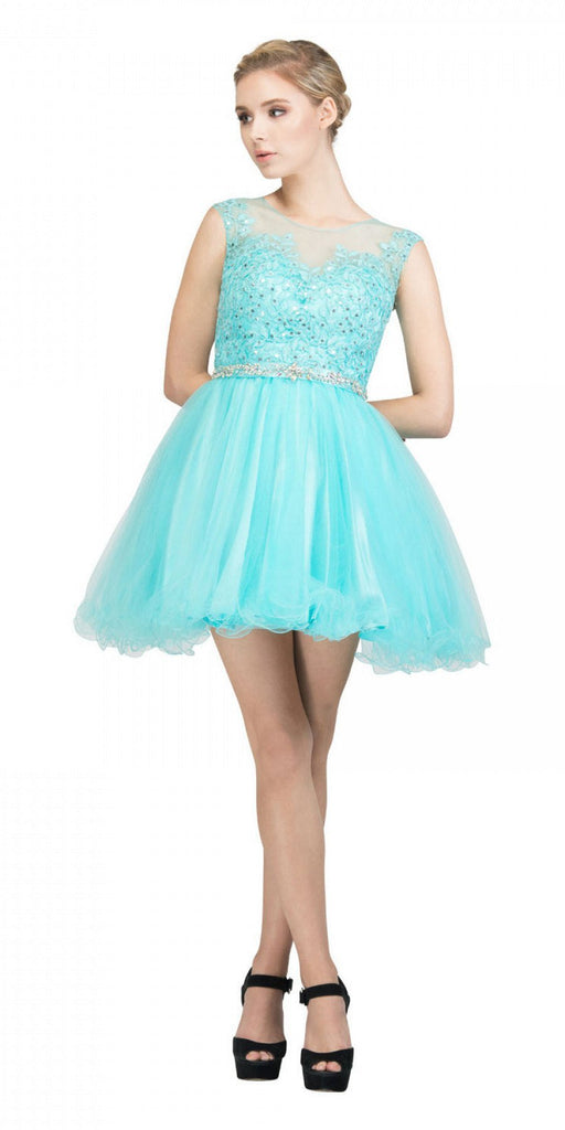 Starbox USA 6165 Embellished Waist Cap Sleeves Homecoming Dress Tiffany Blue