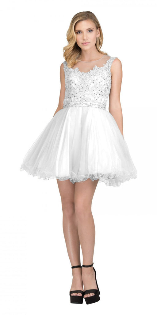 Starbox USA 6165 Embellished Waist Cap Sleeves Homecoming Dress Off White