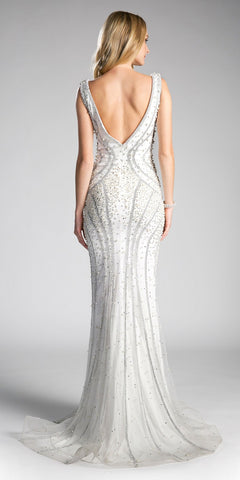 Off White Pearl Decorated Mermaid Prom Gown V-Neck
