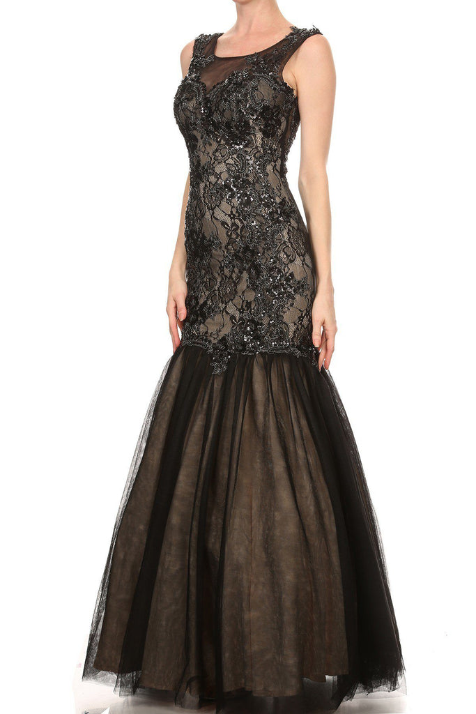 Black Long Trumpet Prom Dress with Appliques