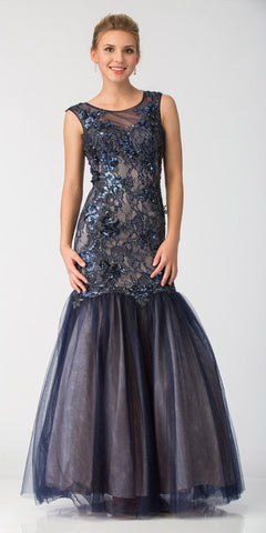Navy Blue Long Trumpet Prom Dress with Appliques