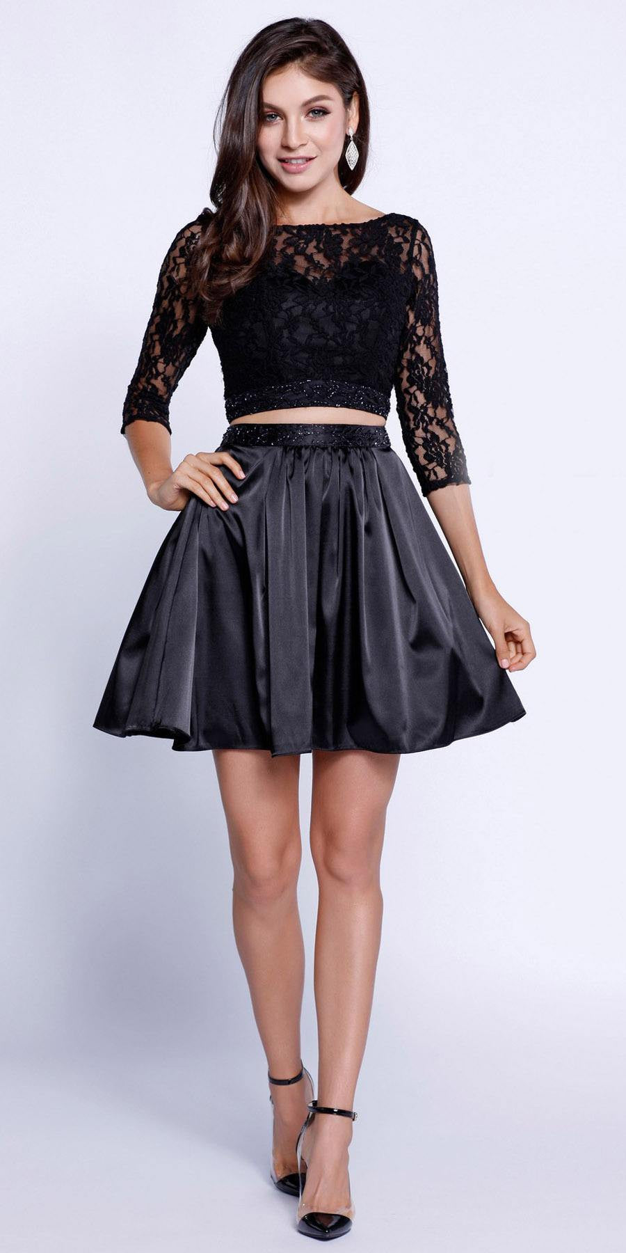 3d03b4f7449 Quarter Sleeves Lace Top Short Two-Piece Prom Dress Black ...