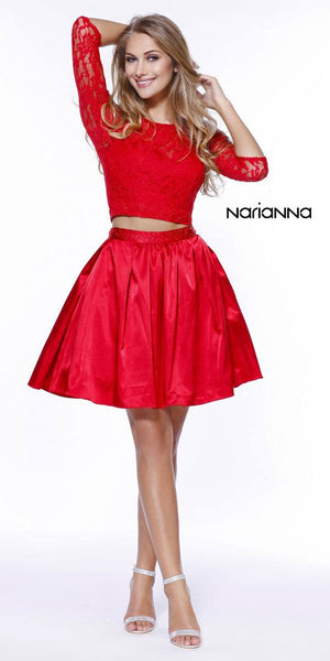 Quarter Sleeves Lace Top Short Two-Piece Prom Dress Red