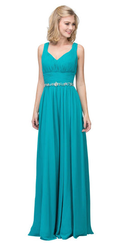 Starbox USA 6168 Long Chiffon Evening Gown A Line Ruched V Neckline Rhinestones Jade