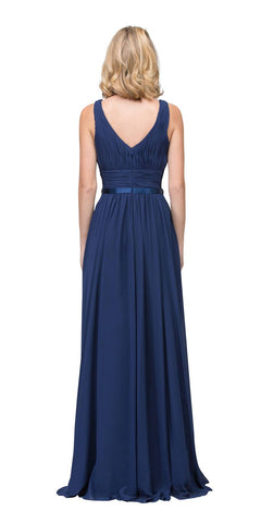 Starbox USA 6168 Long Chiffon Evening Gown A Line Ruched V Neckline Rhinestones Navy Blue Back View