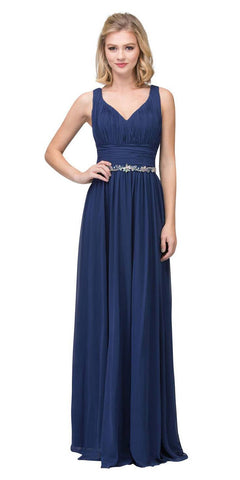 Starbox USA 6168 Long Chiffon Evening Gown A Line Ruched V Neckline Rhinestones Navy Blue