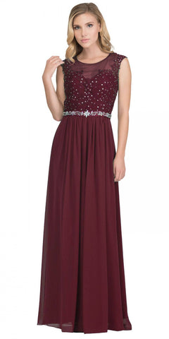 Burgundy Evening Gown Illusion Neckline Appliqued Bodice