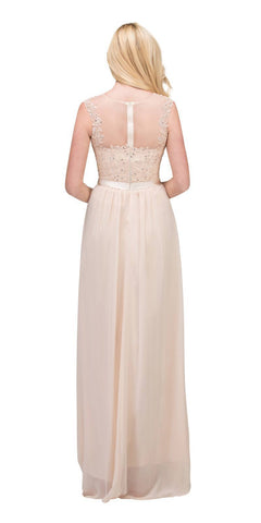 Champagne Evening Gown Illusion Neckline Appliqued Bodice Back View