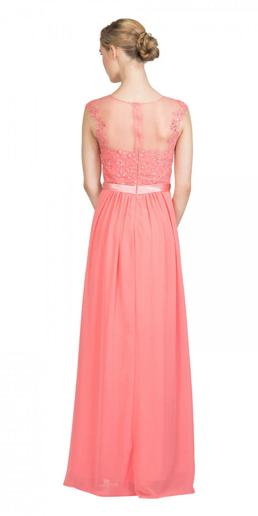 Coral Evening Gown Illusion Neckline Appliqued Bodice Back View
