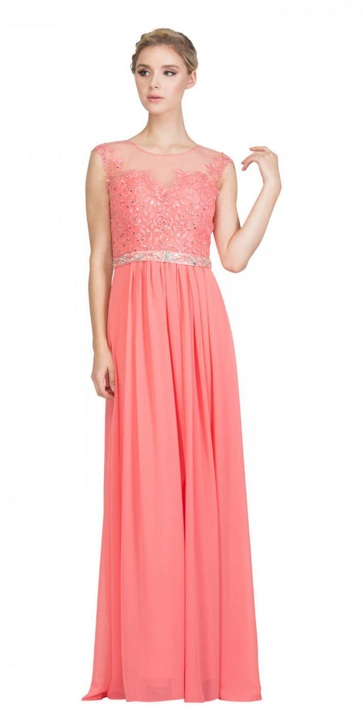 Coral Evening Gown Illusion Neckline Appliqued Bodice