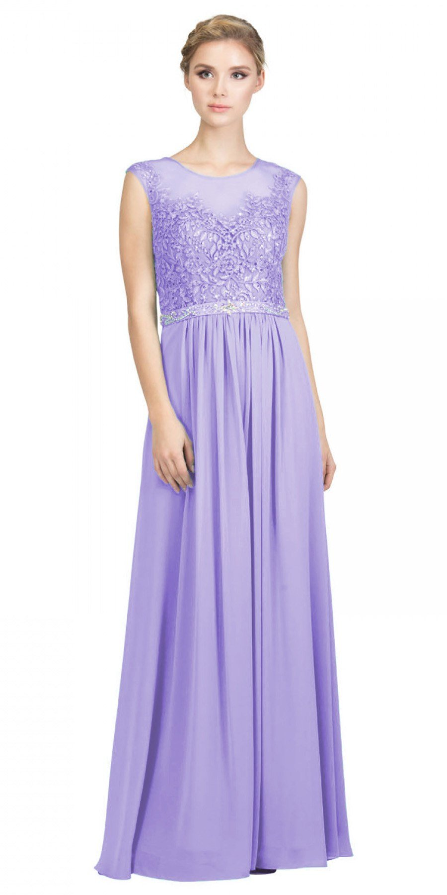 double coupon buying now Official Website Lilac Evening Gown Illusion Neckline Appliqued Bodice