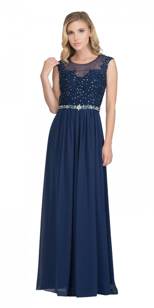 Navy Blue Evening Gown Illusion Neckline Appliqued Bodice