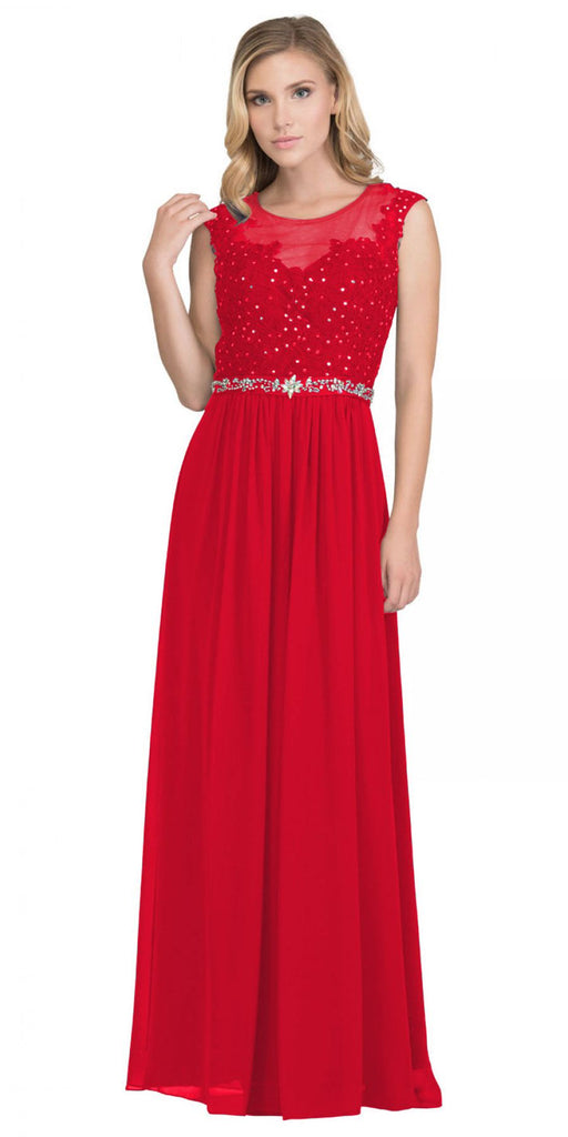 Red Evening Gown Illusion Neckline Appliqued Bodice