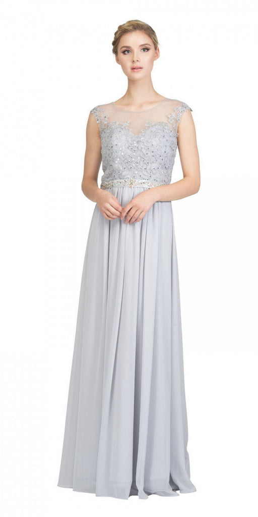 Silver Evening Gown Illusion Neckline Appliqued Bodice