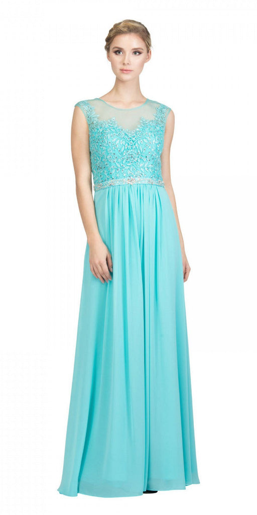 Tiffany Blue Evening Gown Illusion Neckline Appliqued Bodice
