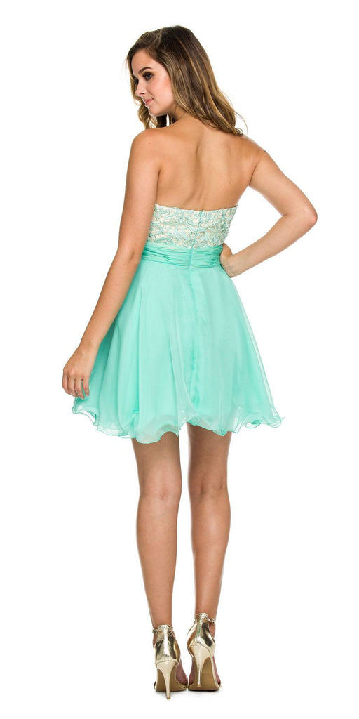 Nox Anabel 6169 Short A-Line Mint Green Dress Strapless Sweetheart Lace Bodice