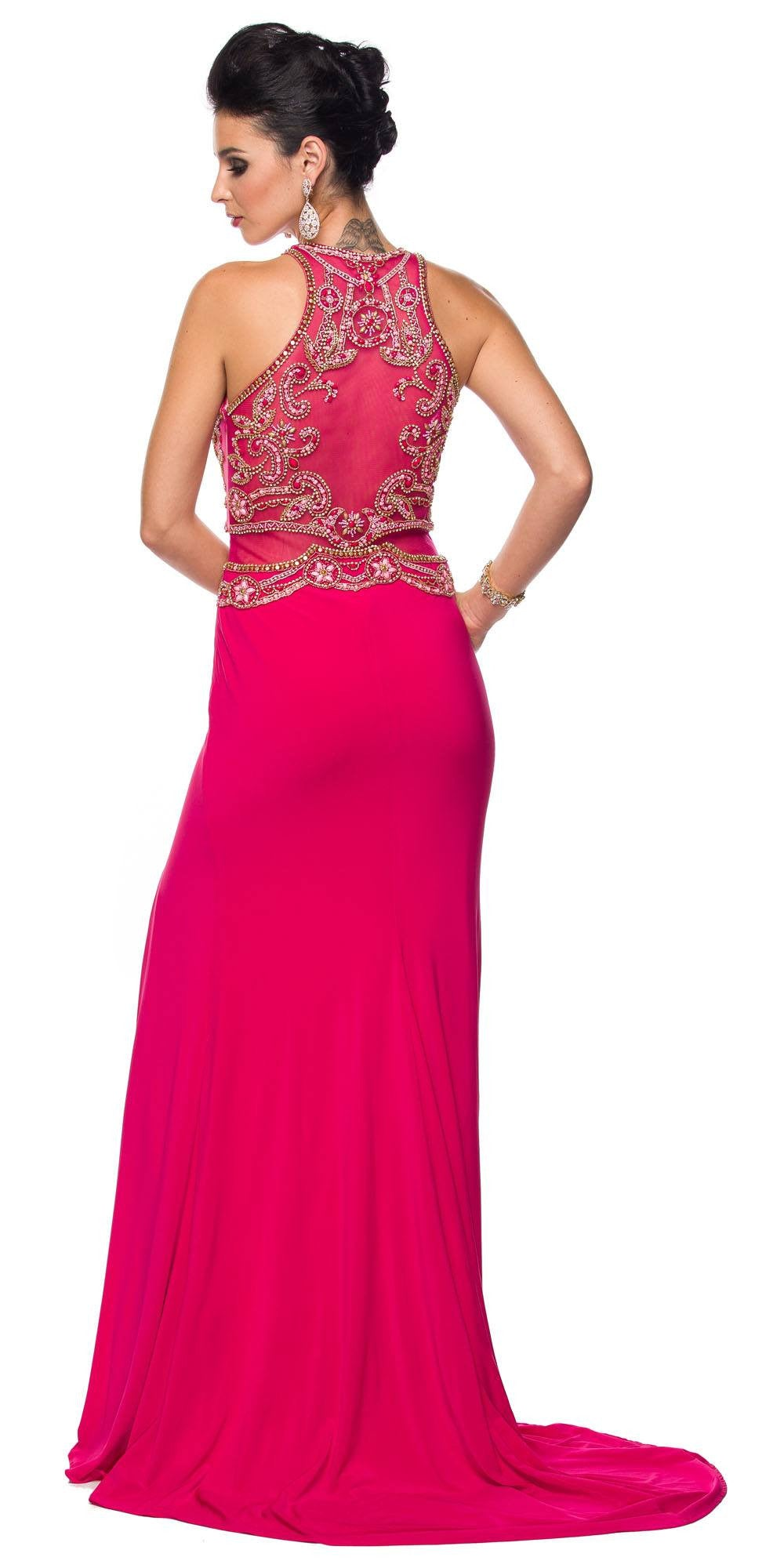 Juliet 617 Embellished Bodice Sheer Midriff Evening Gown Fuchsia ...